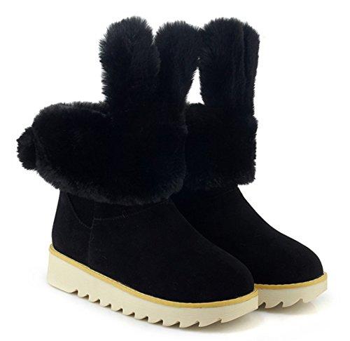 Bottines De Mignon Cadeaux Noir Chaussures Femme Neige Aisun 7YOSvv