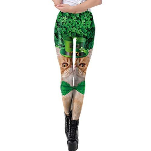 AOJIAN Yoga Pants Soft St. Patrick's Day Clover Cat Print Trousers Jogger Capri Workout Sports Leggings for Women
