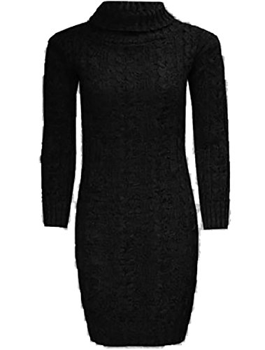 Black Roll Dress Womens Sleeve Polo Knitted Long Neck Ladies Cable Jumper Stretch xPvIR6wZq