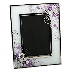 Beautiful Purple Glass 4 x 6 Photo Frame with Flowers and Butterflies By Haysom Interiors