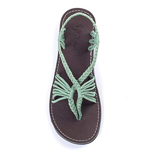 Plaka Flat Summer Sandals for Women Sage Green 7 Seashell ()