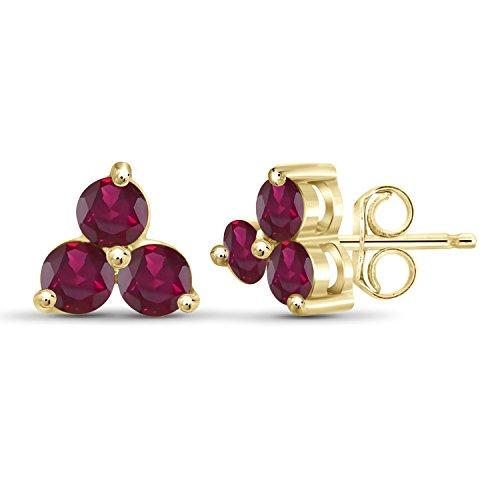 (2.00ctw Genuine Ruby Gemstone 14k Gold Over Silver Stud Earrings)