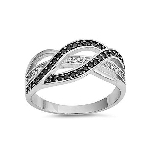 Elephants Evil (Blue Apple Co. Half Eternity Weave Knot Ring Crisscross Crossover Simulated Black CZ Round CZ 925 Sterling Silver,Size-8)