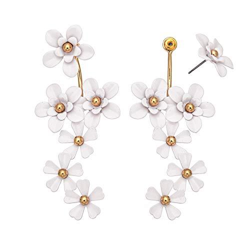 (Metal Enameled Multiple Flowers Petal Pierced Earrings Spring Summer Daisy Small Rose Stud Earring for Women (White) )