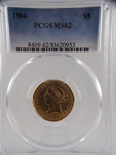 1904 P $5 Liberty Gold Half Eagle Gold (Pre-1933) MS 62 PCGS