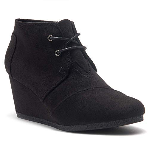 Herstyle Corlina Women's Fashion Casual Outdoor Low Wedge Heel Booties Shoes Lace up Close Toe Ankle Boots Black 8.5
