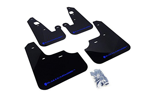 Rally Armor MF8-UR-BLK/BL Black, Blue Mud Flap with Logo (2007+ Mitsubishi Lancer (Doesn't fit Sport Back) UR)