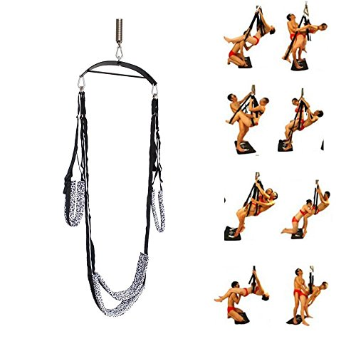 Lononvie Couples Sexy Restraint Swing, Adult Indoor Swing, Durable and Soft Sex Fetish Bondage with Steel Triangle Frame,Silver Leopard by Lononvie