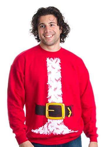 Santa Claus Costume | Novelty Christmas Sweater, Holiday Crewneck Sweatshirt - (Crew,L) Red]()