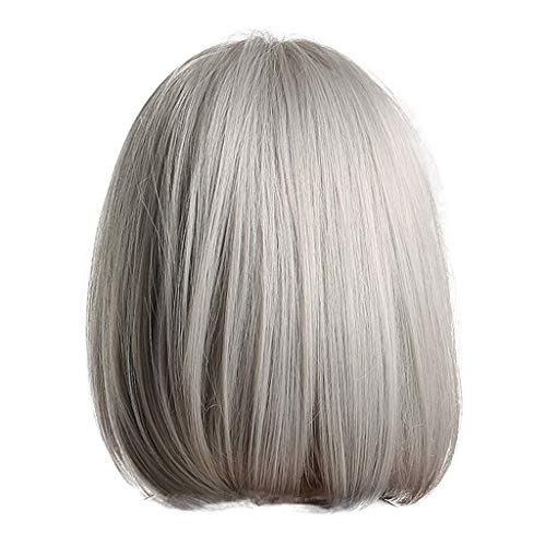 JYS Middle Long Straight Wig Charming Lady Straight with Wig Cap for Women Cosplay Party, Short Wigs for White Women Most Wished for Girl Women (Silver) -