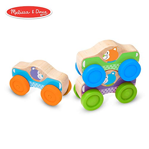 Melissa & Doug First Play Wooden Animal Stacking Cars (Baby & Toddler Developmental Toy, 3 Pieces)]()