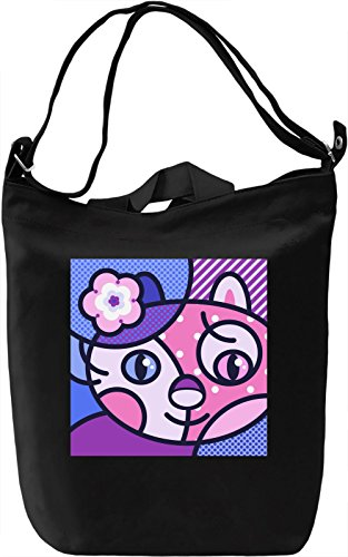 Pop Art Kitty Borsa Giornaliera Canvas Canvas Day Bag| 100% Premium Cotton Canvas| DTG Printing|