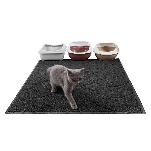 Large Litter Mat 47x36 Inches Jumbo Large Size Kitty Litter Mat, Easy to Clean, Durable,Cat Litter Trapping Mat,Non Slip Backing, Dirt Catcher, Soft on Paws. (Black) (Catcher Dirt Mats)
