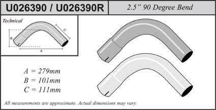 """Jetex Universal Exhaust 30 Degree Bend 3.5/"""" Mild Steel"""