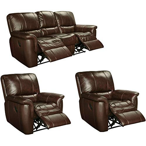 - Sofaweb.com Ethan Chestnut Brown Leather Reclining Sofa and Two Recliner Chairs