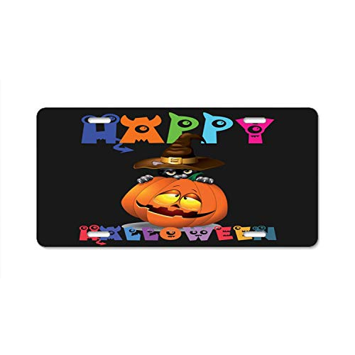 YEX Abstract Happy Halloween Funny Witch Cat with Pumpkin License Plate Frame Car Licence Plate Covers Auto Tag Holder 6