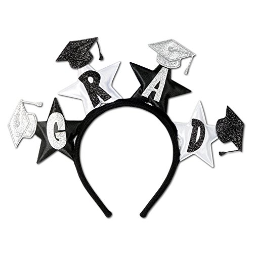 Black & White Sparkling Graduation Novelty Headband -