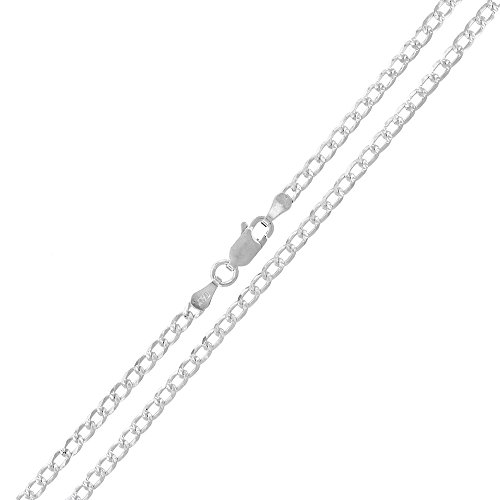 Sterling Silver Italian 2.5mm Cuban Curb Link Diamond-Cut ITProlux Solid 925 Necklace Chain 16'' - 30'' (18) by In Style Designz (Image #2)