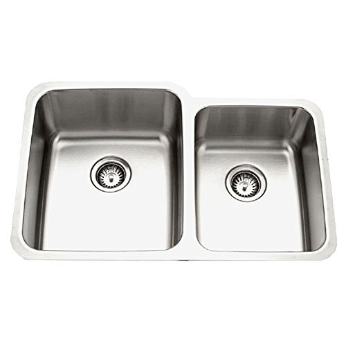 Houzer MES-3221-1 Medallion Gourmet Series Undermount Stainless Steel 60/40 Double Bowl Kitchen Sink , Small Bowl Right (Double Undermount Gourmet Bowl)