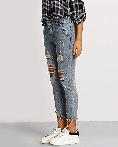 A Denim Donna Zhuikun Scuro Strappati Blu Vita Boyfriend Jeans Pantaloni Alta TgWtWqR