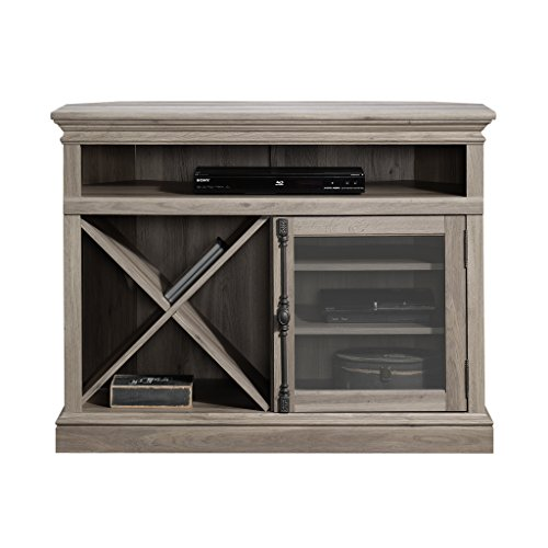 Audio Enclosed Doors Rack - Modern Stylish Stand TV 42'' Open Shelving Holds Audio Video Equipment Framed Safety-Tempered Glass Door Two Adjustable Shelves Removable Criss-Cross Rack Storage Enclosed Back Panel with Cord Access