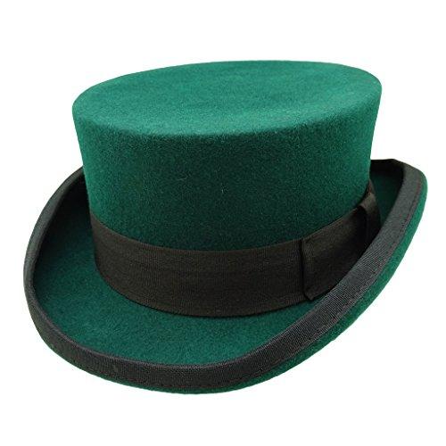 Topper Green - HATsanity Unisex Vintage Wool Felt Formal Tuxedo Short Topper Hat Green with Black Band