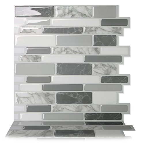 Tic Tac Tiles - Premium Anti-mold Peel and Stick Wall Tile in Polito Gray (10 tiles) (Best Tile For Kitchen Backsplash)