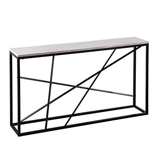 Powder-Coated Iron Base and White Faux Marble Top Console Table with Geometric Design + Free Basic Design Concepts Expert Guide