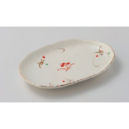 Elliptical Plate utw210-13-374 [9.8 x 6.4 x 1.3 inch] Japanece ceramic kohiki red picture arabesque spa dish tableware