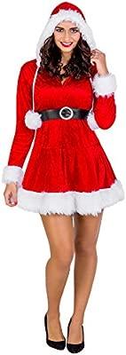 TecTake dressforfun Disfraz para Mujer Sra. Mamá Noel | Vestido Corto con Capucha & cinturón Maravilloso (S | no. 300306)