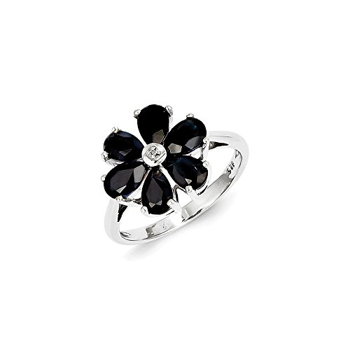 925 Sterling Silver Dark Sapphire Diamond Flower Band Ring Size 7.00 Stone Flowers/leaf Gemstone Fine Jewelry Gifts For Women For Her