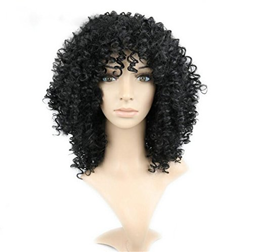 [ATOZWIG Short 20 inches Kinky Curly African American Wigs Heat Resistant Fiber Layered Black Hair Wig Curly Afro Wigs for Black] (Curly Wigs For Black Hair)