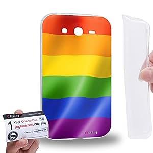 Case88 [Samsung Galaxy Grand Duos i9082 i9080] Gel TPU Carcasa/Funda & Tarjeta de garantía - Art Hand Drawing Rainbow Flag LGBT Pride Flag B