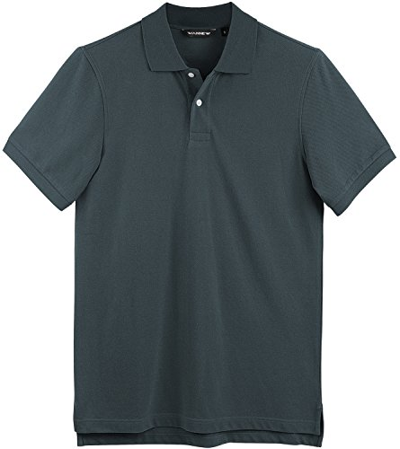 WANNEW Polo Shirts for Men - Mens Polo Shirt Cotton -Short Sleeve Polo Regular-Fit (L, Dark Grey)