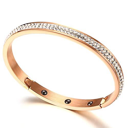 - Hematite Magnetic Bracelets | for Women | 2 Rows Shiny Rhinestone Cuff Bangles | Female Fashionable Stainless Steel Elegant Jewelry