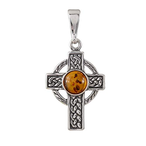 HolidayGiftShops Sterling Silver and Baltic Honey Amber Celtic Knot Cross Pendant Necklace Baltic Amber Celtic Knot