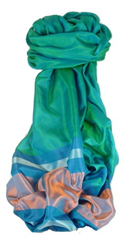 Varanasi Border 100% Foulard de Soie Dasgupta 503 Gamme Heritage par Pashmina & Silk