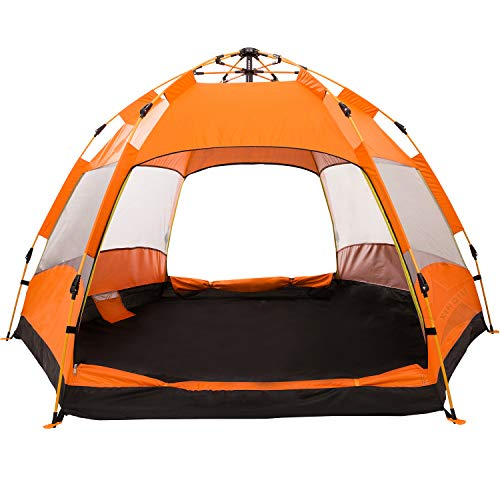 XINQIU Camping Tent for Family Automatic Instant Easy Set Up Tents for Fishing Hiking Camping Double Layer and Waterproof for Convenient Your Travel Beach Vacation(Orange)