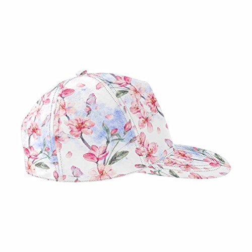 INTERESTPRINT Spring Pink Flowers Blooming Branches of Cherry, Peach, Pear, Sakura, Apple Trees and Butterflies Snapback Hat Hip Hop Baseball Cap