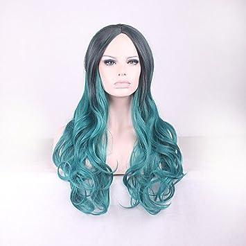 OOFAY JF® más vendido largos puntos verdes peluca rizada gradiente negro europa y los estados