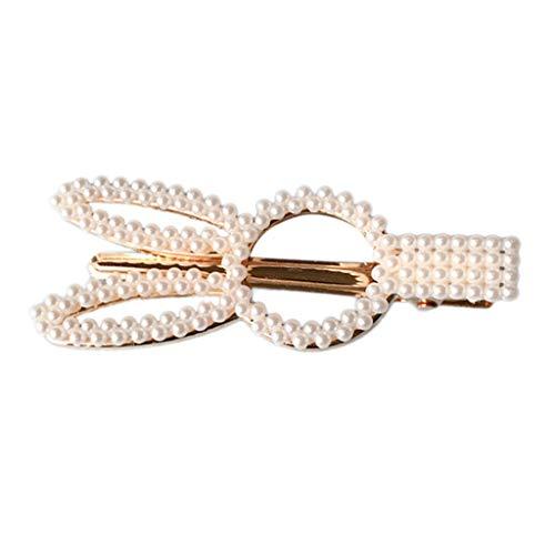 NANTE Top Women Pearl Hair Clip Slide Hair Pin Barrette Bridal Hair Fashion Hairband Hairpin Accessory Headwear (B) Gold