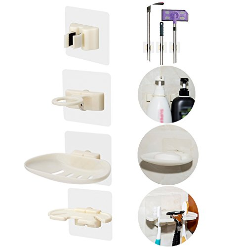 Price comparison product image TOMSOO Bathroom Kitchen Accessories,  Plastic Suction Cup Shower Wall Hooks Hangers Holder Organizer for Shower Gel,  Shampoo,  Bar Soap,  Razors,  Toothbrush,  Broom,  Mop,  Detergent,  Hand Soap,  Set of 10