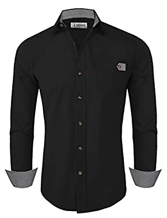Tom's Ware Mens Classic Slim Fit Checkered Contrast Long Sleeve Dress Shirts TWNMS311SN-BLACK-S