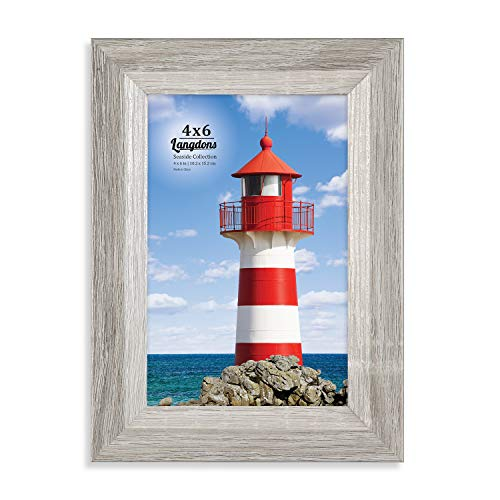 Langdons 4x6 Picture Frame (1 Pack, Gray), Sturdy Wood Composite Photo Frame 4 x 6, Wall Mount or Table Top, Set of 1 Seaside Collection