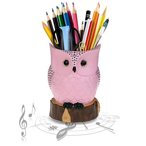 Gifts Accessories Music And - J JHOUSELIFESTYLE Owl Music Box with Brush Holder Function and Free White Pearl, Owl Rotating as Music Plays, Great Owl Lover Gifts for Women Girls as Home Office Accessories Decorations - Pink