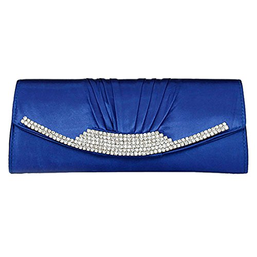 (Women Silk Satin Pleated Clutch Evening Handbag with Rhinestone Wedding Party Prom Bridal Clutch Purse (Royal blue))