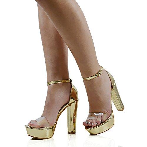 ESSEX GLAM Damen Kunstleder Knöchelriemen Schnalle Plexiglas Plateau Hoher Absatz Peep Toe Schuhe Gold Metallic