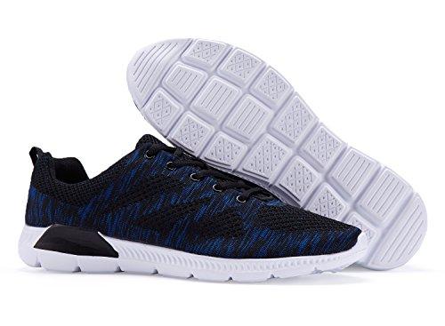 Mens Walking Schuhe Leichte atmungsaktive Laufschuhe Mesh Fashion Sneakers für Männer Schwarz Blau