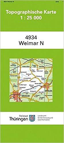 Topographische Karte Thüringen.Weimar Nord 4934 Topographische Karten 1 25000 Tk 25 Thüringen