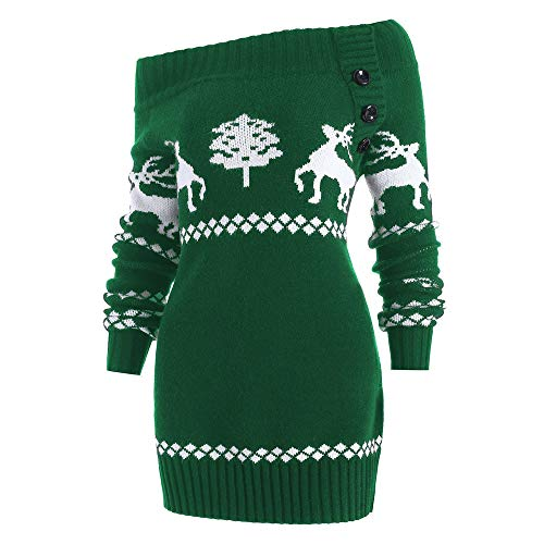 for Women Tops.AIMTOPPY Christmas Elk Christmas Tree Strap Collar One-Shoulder Long-Sleeve Button Knit Sweater (XL, Green)